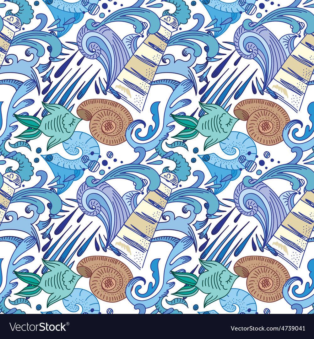 Nautical blue pattern vector | Price: 1 Credit (USD $1)