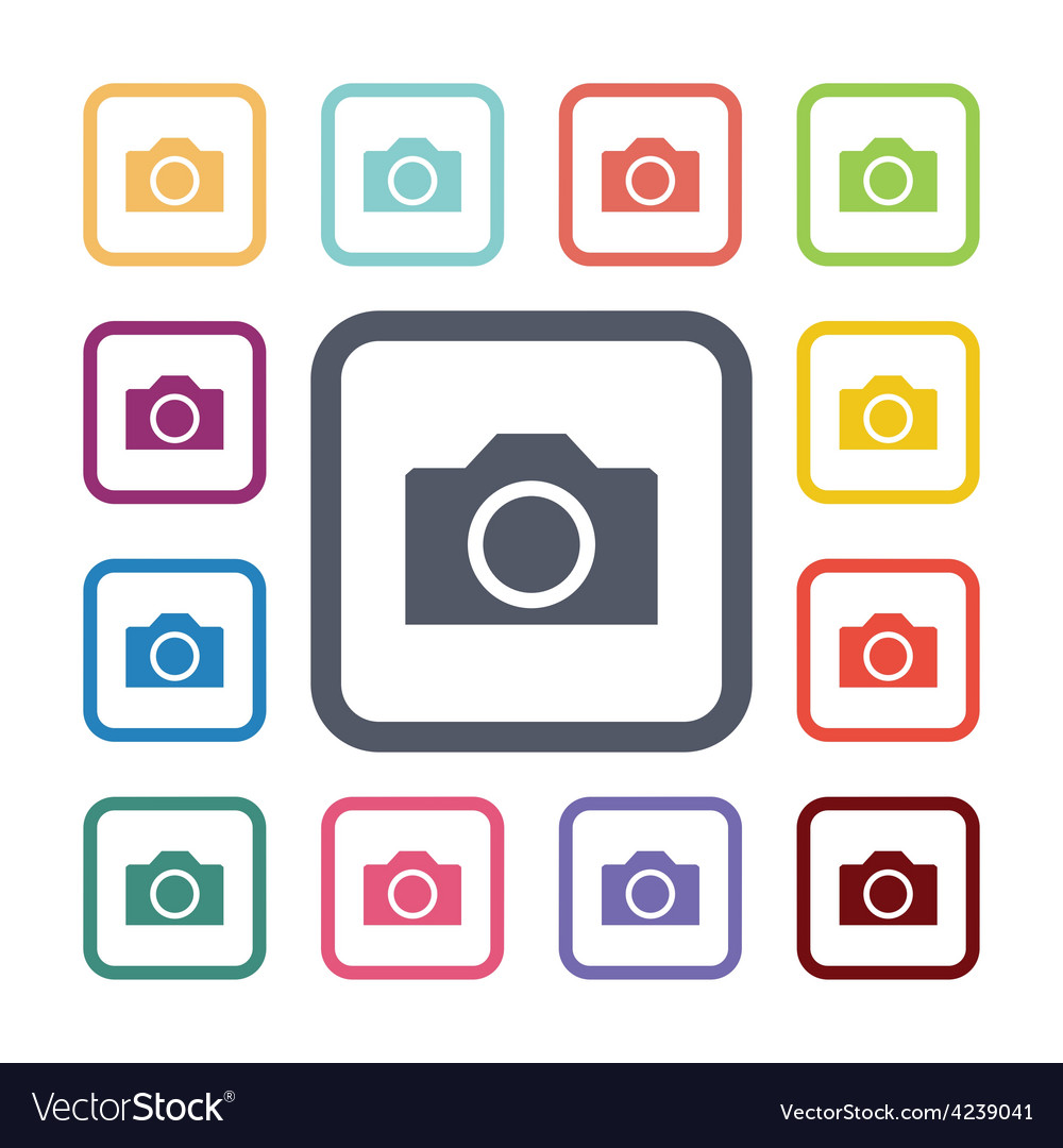 Photo camera flat icons set vector | Price: 1 Credit (USD $1)
