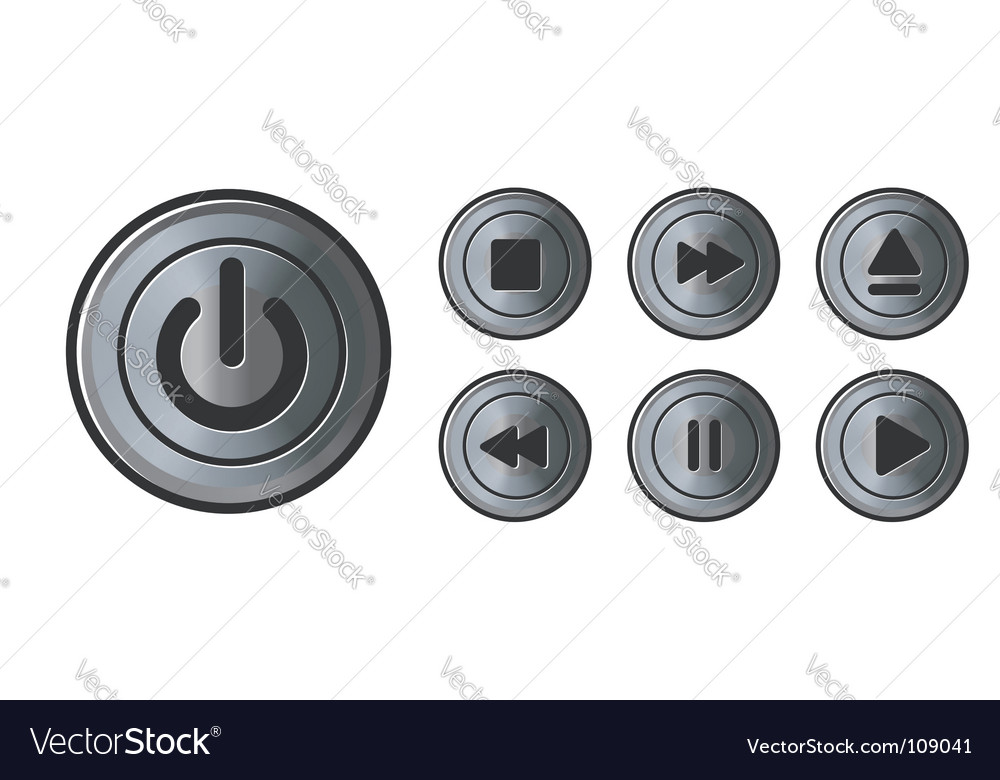 Player icons metal buttons vector | Price: 1 Credit (USD $1)