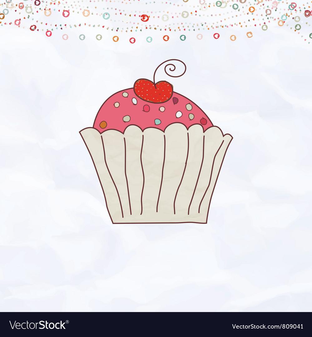Retro cupcake valentines vector | Price: 1 Credit (USD $1)