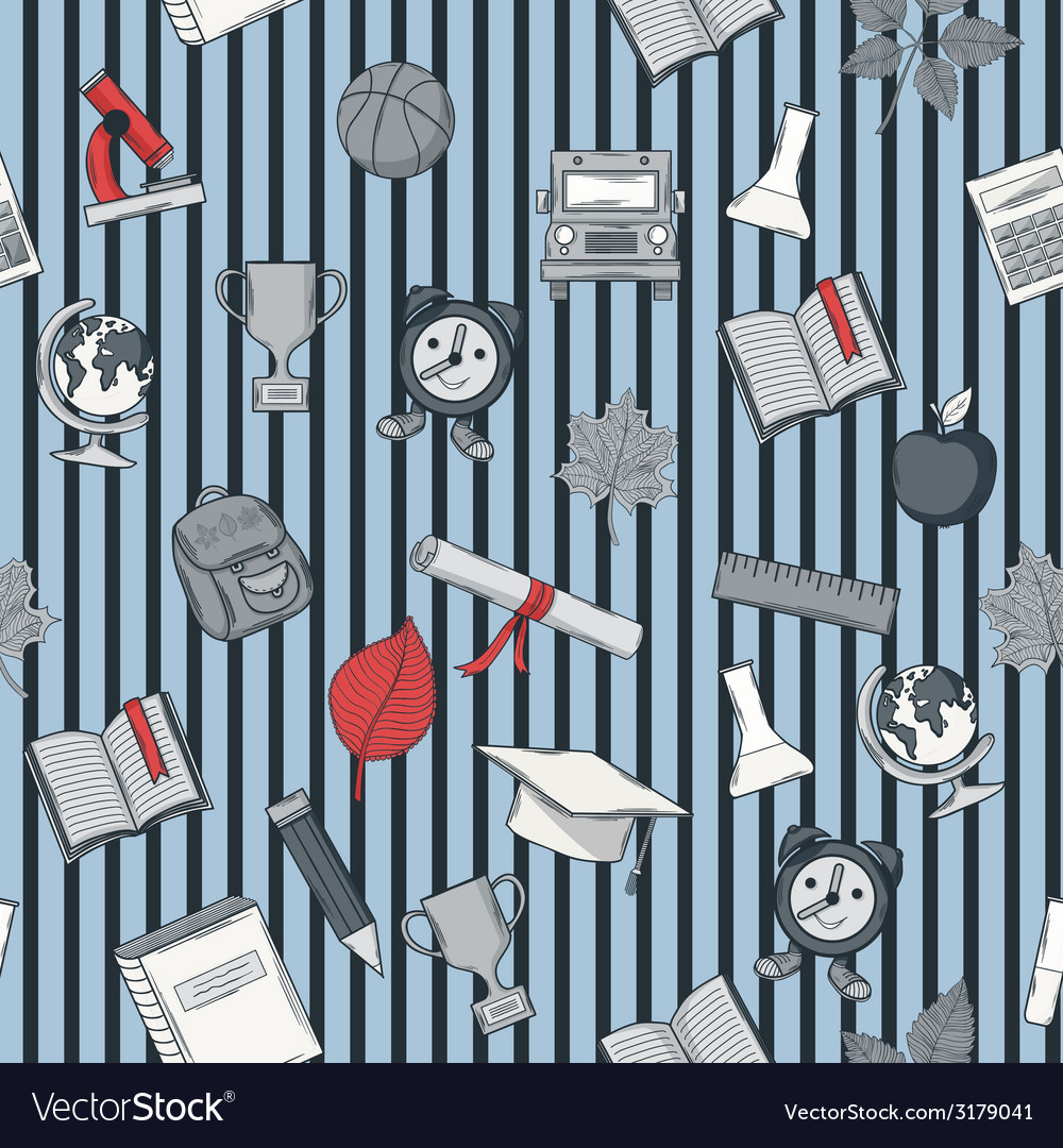 School pattern on striped blue bacground vector | Price: 1 Credit (USD $1)