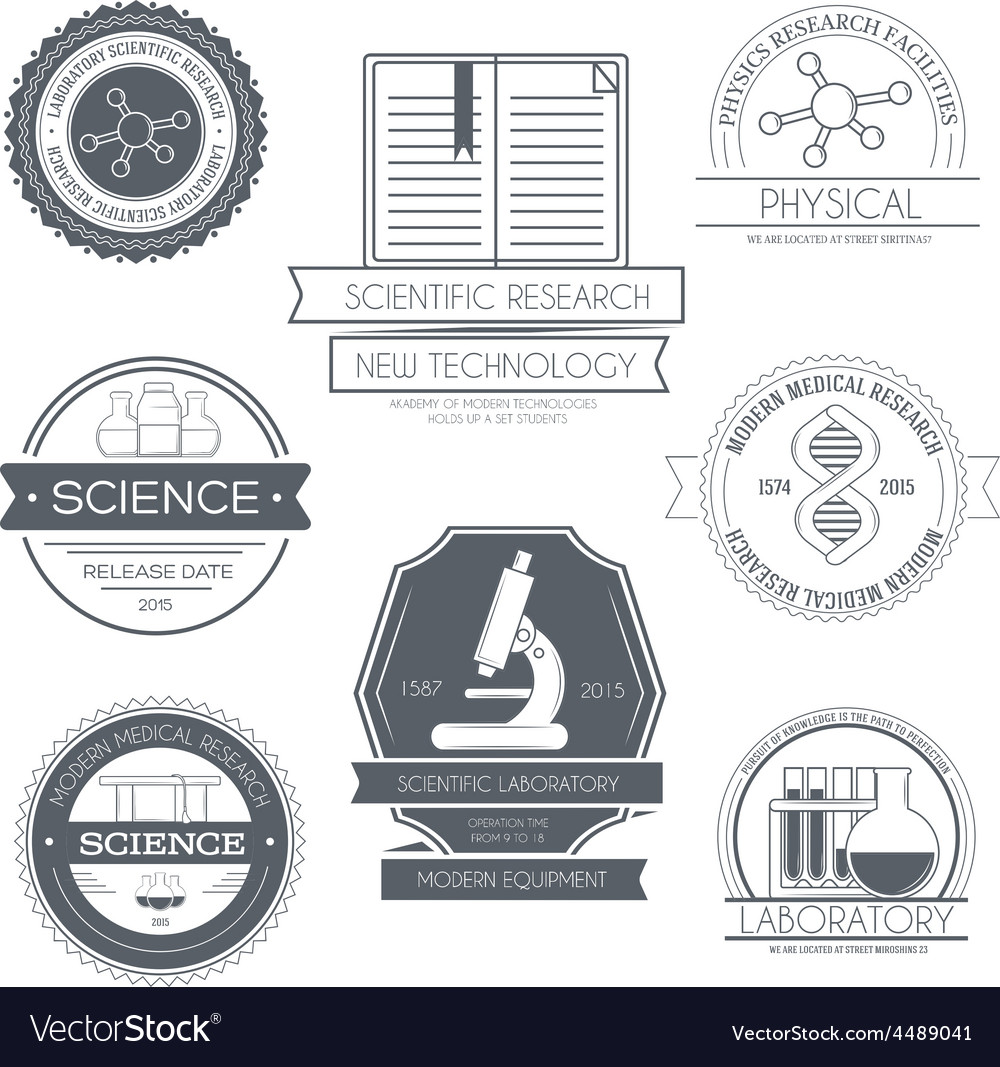 Science set label template of emblem element for vector | Price: 1 Credit (USD $1)