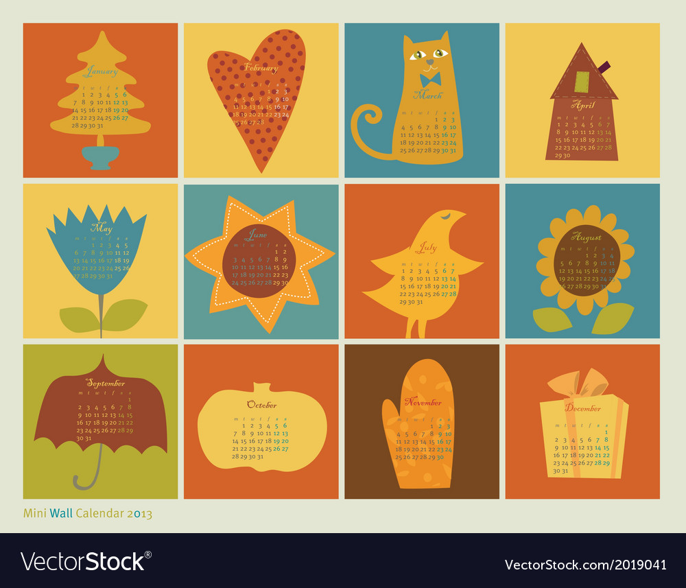 Scrapbooking color characters calendar vector | Price: 1 Credit (USD $1)