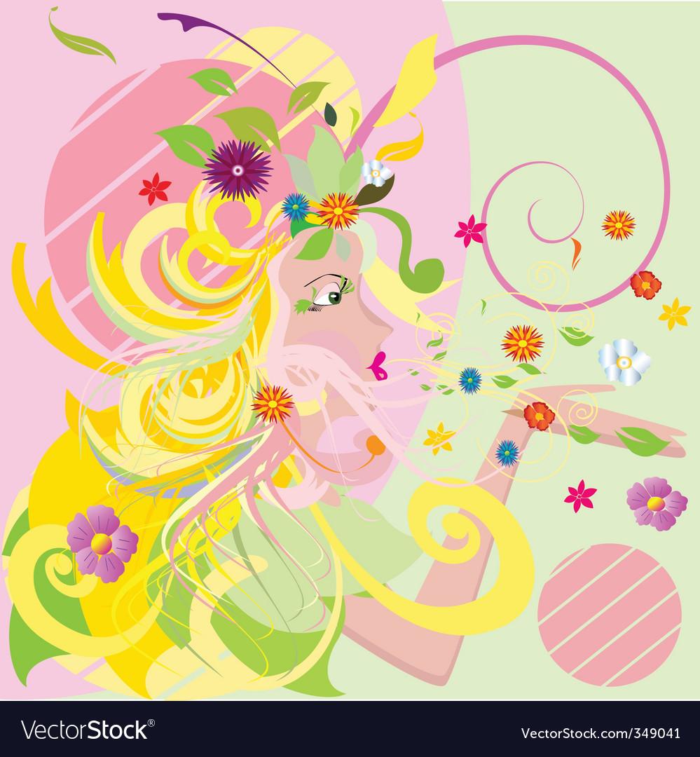 Spring girl vector | Price: 1 Credit (USD $1)