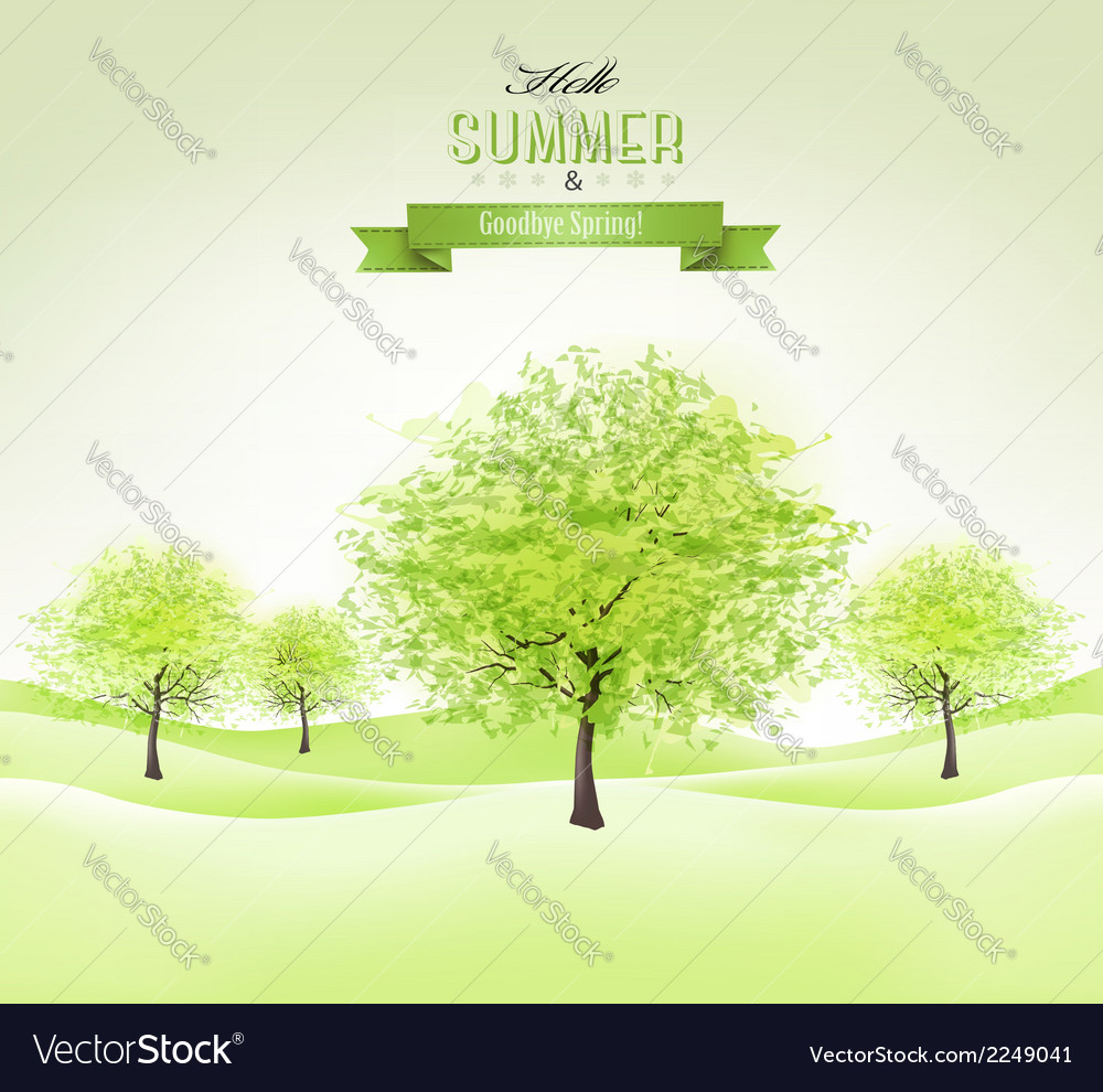 Summer background with green trees vector | Price: 1 Credit (USD $1)