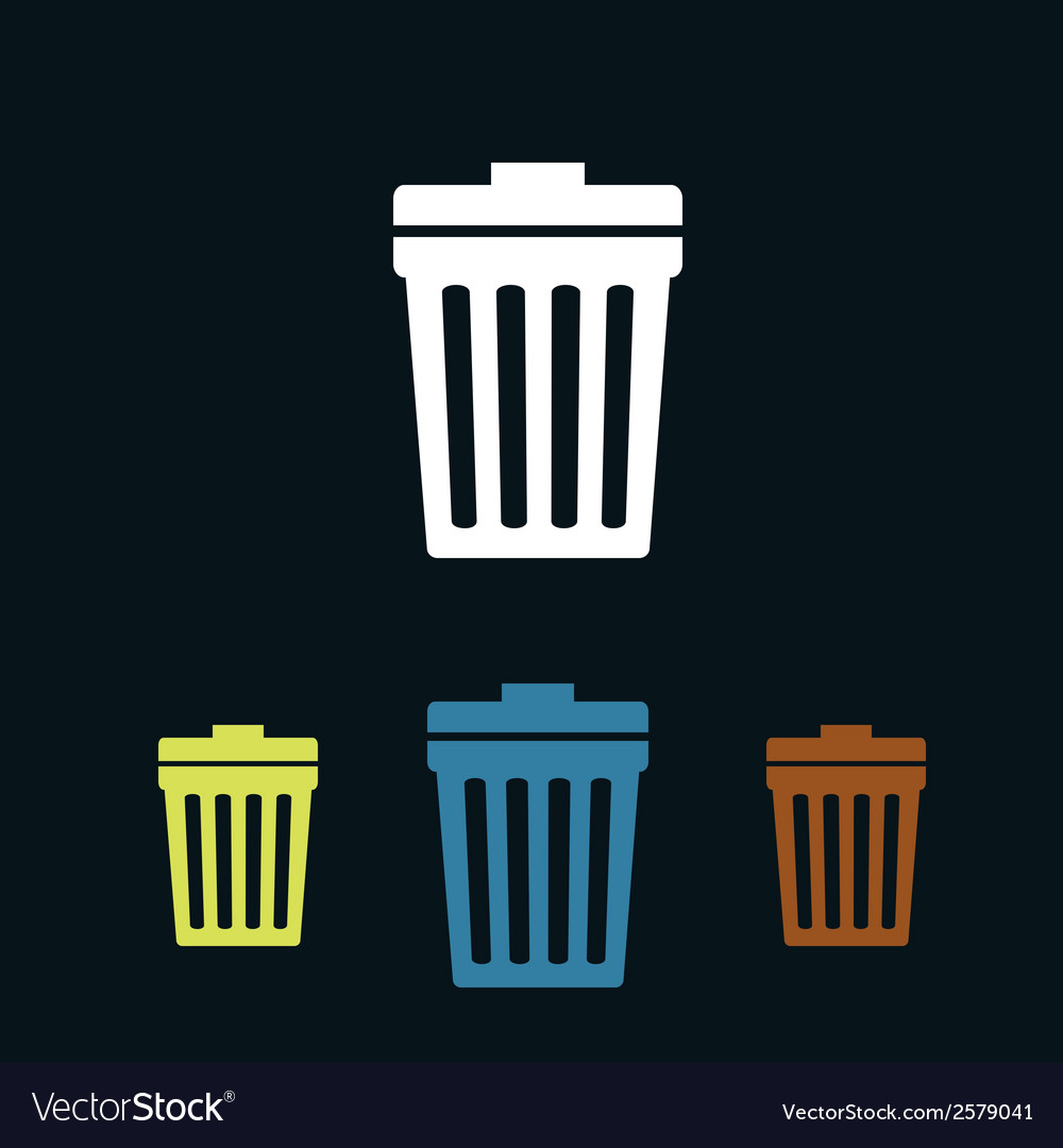 Trash can flat icons vector | Price: 1 Credit (USD $1)