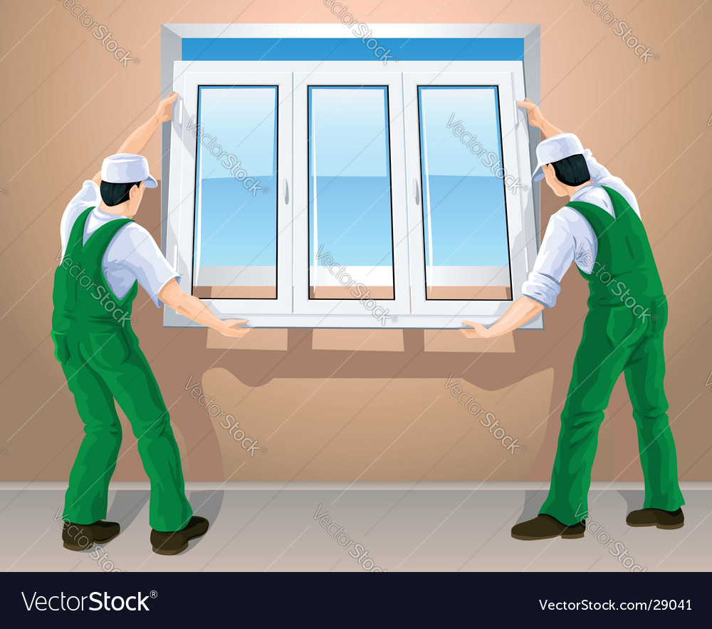 Workers and plastic window vector | Price: 3 Credit (USD $3)
