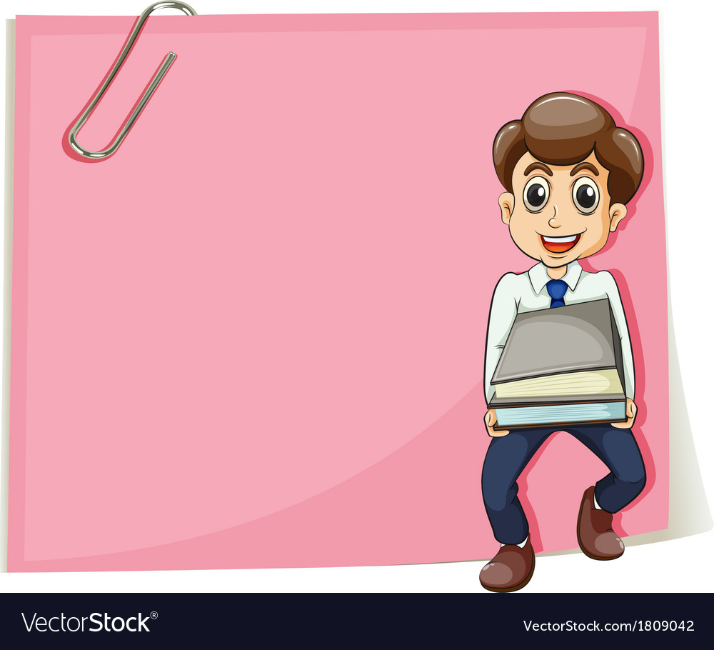 A pink empty paper with a businessman carrying vector | Price: 1 Credit (USD $1)