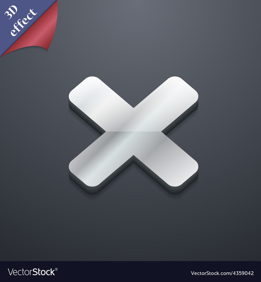 Cancel multiplication icon symbol 3d style trendy vector | Price: 1 Credit (USD $1)