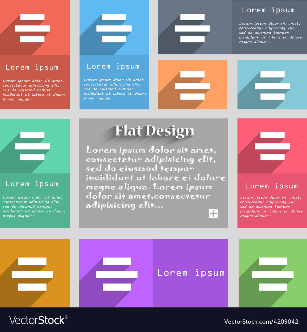Center alignment icon sign set of multicolored vector | Price: 1 Credit (USD $1)