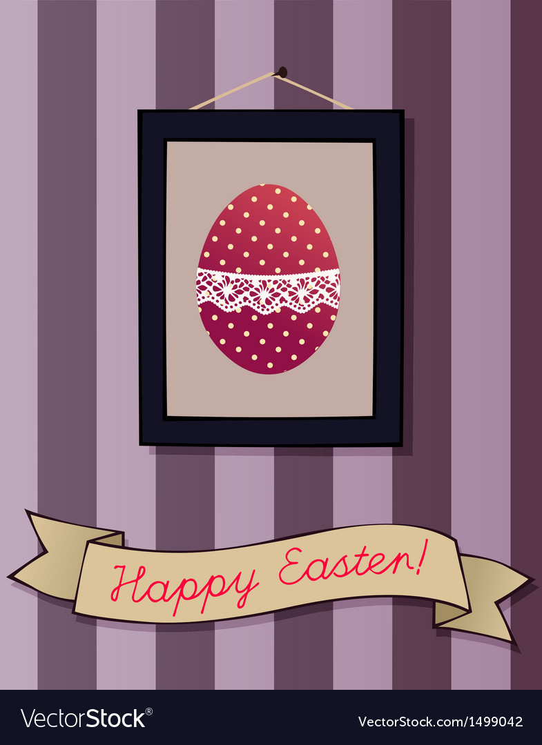 Cute greeting card with an easter egg picture vector | Price: 1 Credit (USD $1)