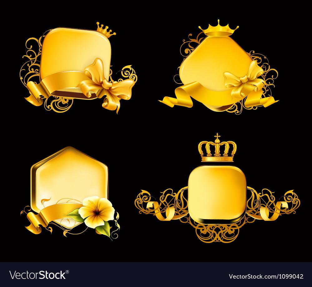 Golden frame on black set vector | Price: 3 Credit (USD $3)