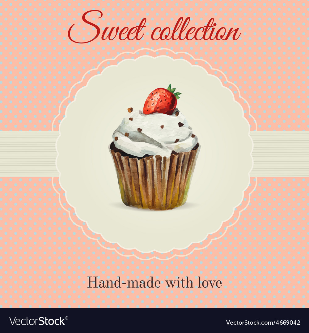 Hand-made desserts flyer template with watercolor vector   Price: 1 Credit (USD $1)
