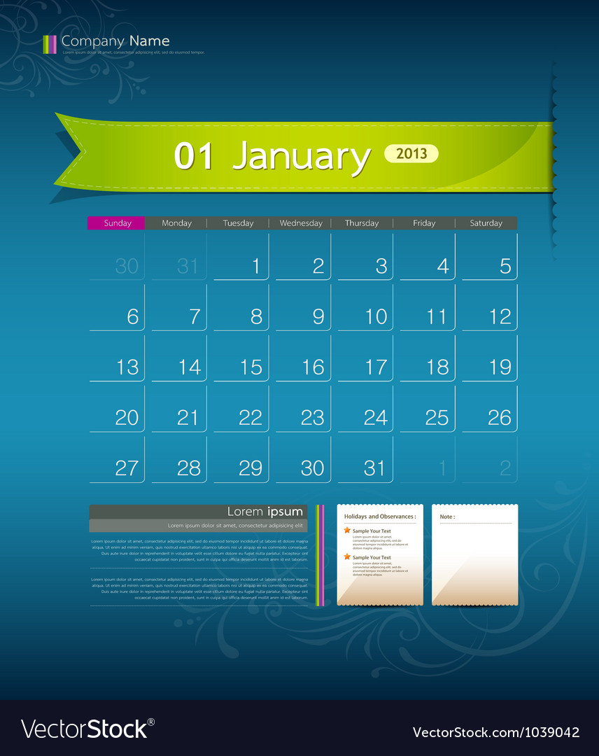 January 2013 calendar vector | Price: 1 Credit (USD $1)