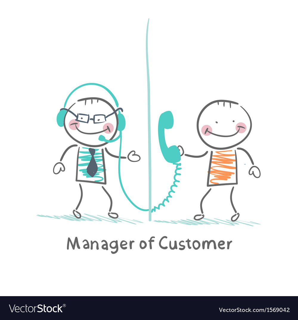 Manager of customer talking on headphones with the vector | Price: 1 Credit (USD $1)