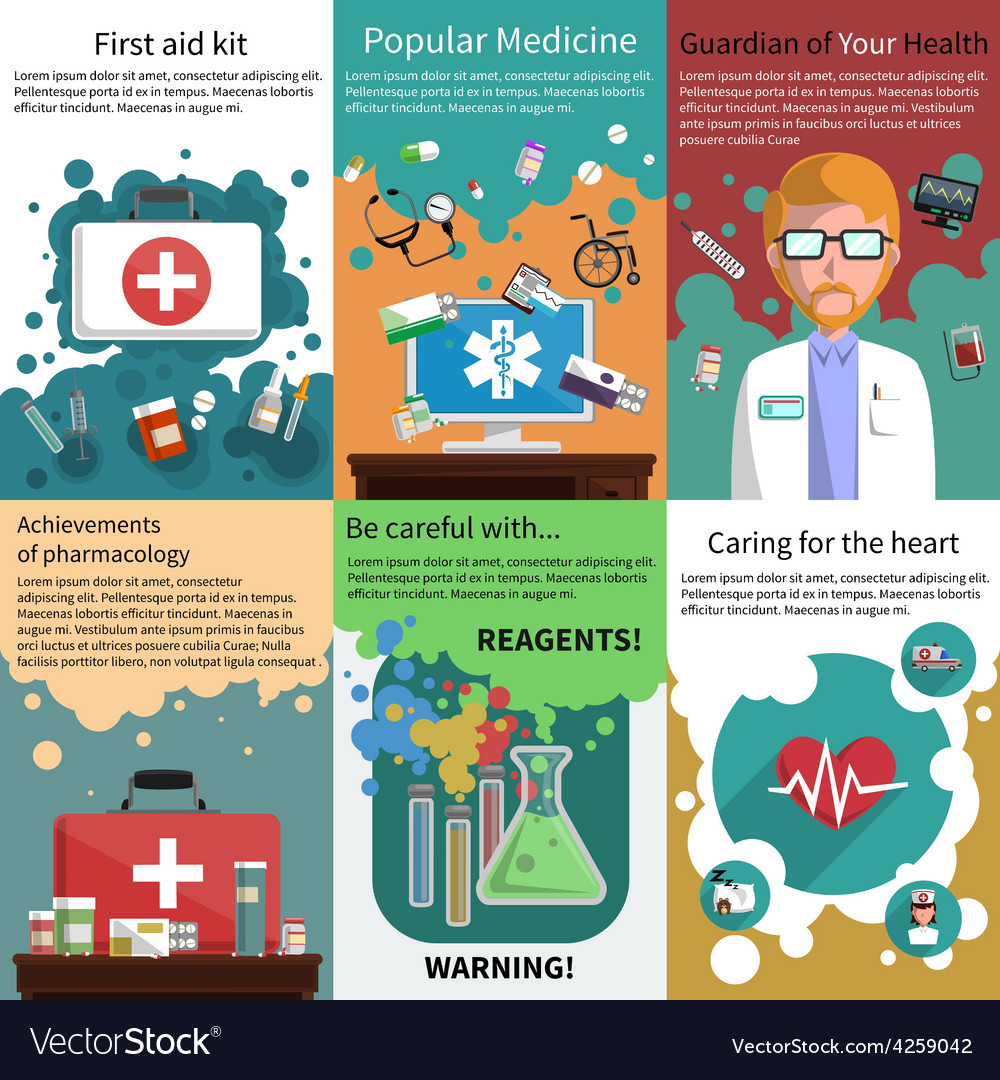 Mini medicine poster muliticolored set vector | Price: 1 Credit (USD $1)