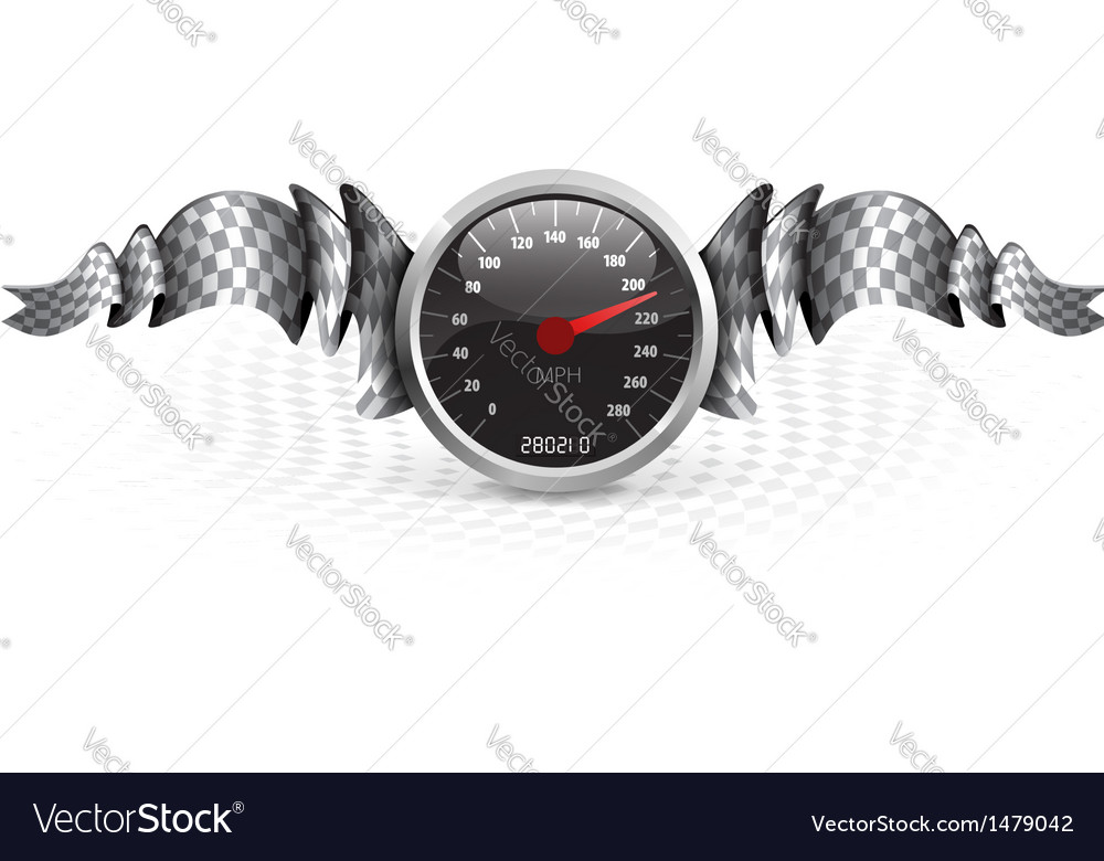 Racing emblem with speedometer vector | Price: 1 Credit (USD $1)