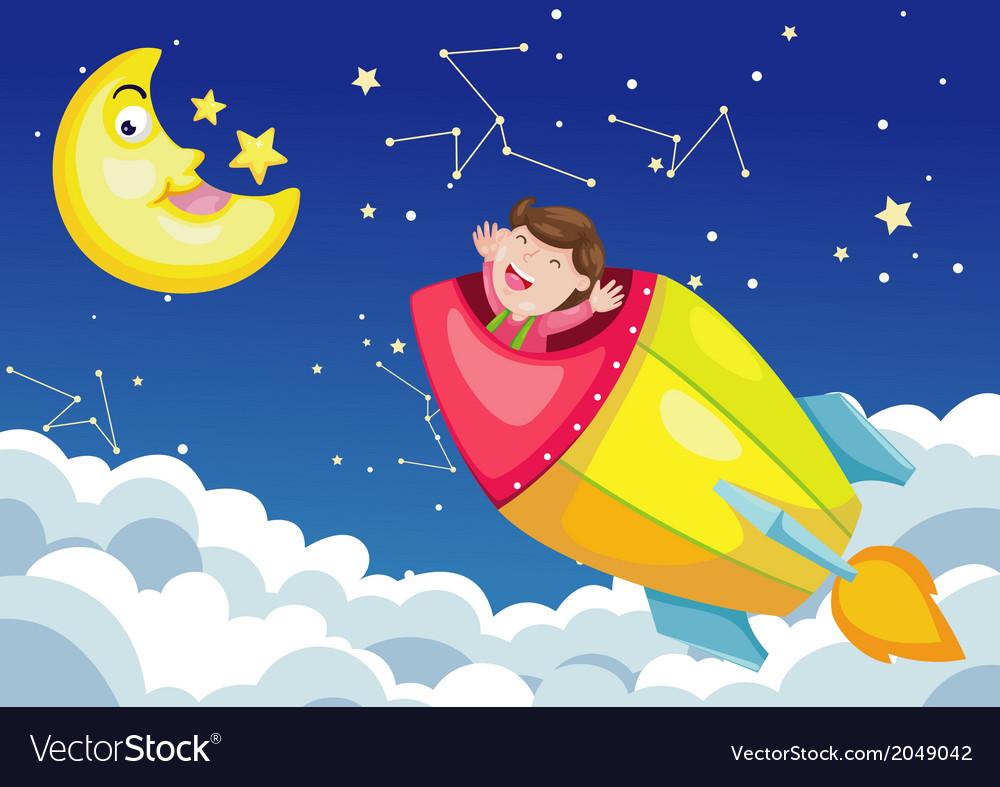 Rocket in sky moon night vector | Price: 1 Credit (USD $1)