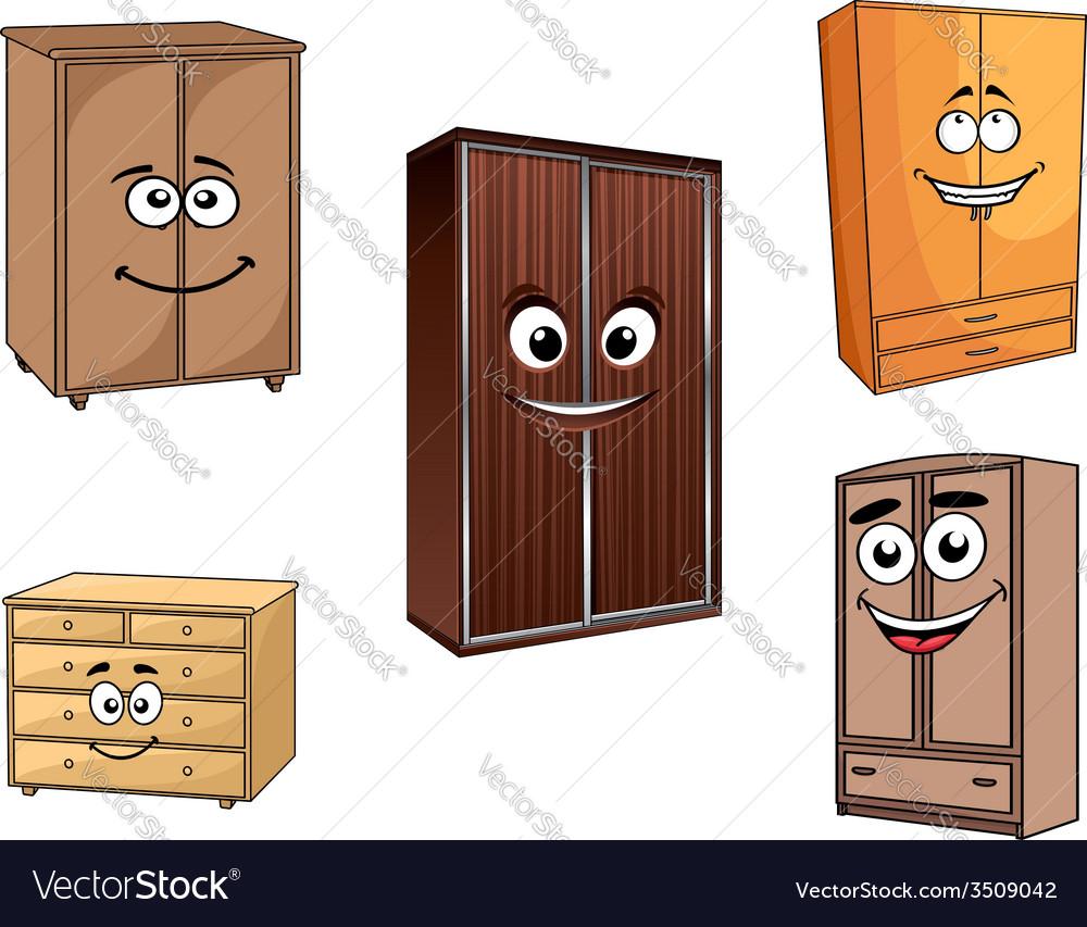 Smiling cartoon cupboards set vector | Price: 1 Credit (USD $1)