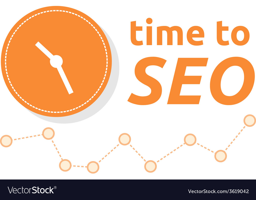 Time to seo word combined with clock and graph vector | Price: 1 Credit (USD $1)