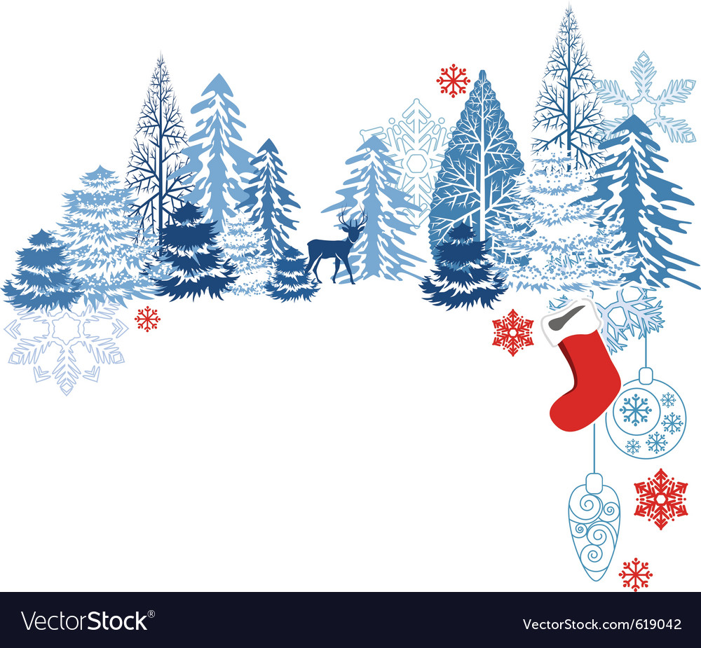 Winter blue landscape vector | Price: 1 Credit (USD $1)
