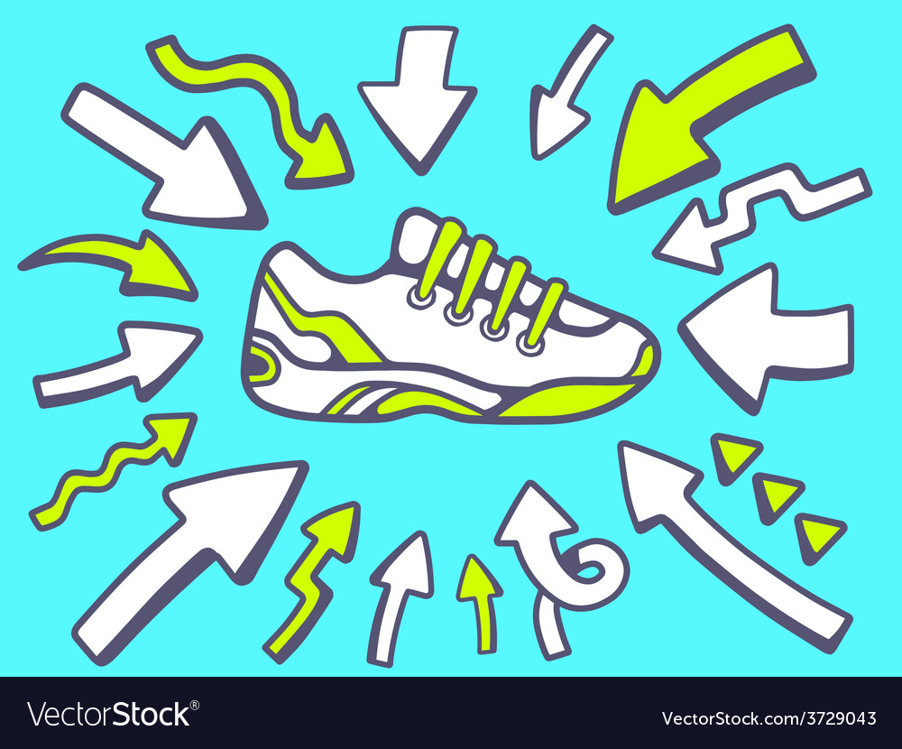 Arrows point to icon of sneaker on blue vector | Price: 1 Credit (USD $1)