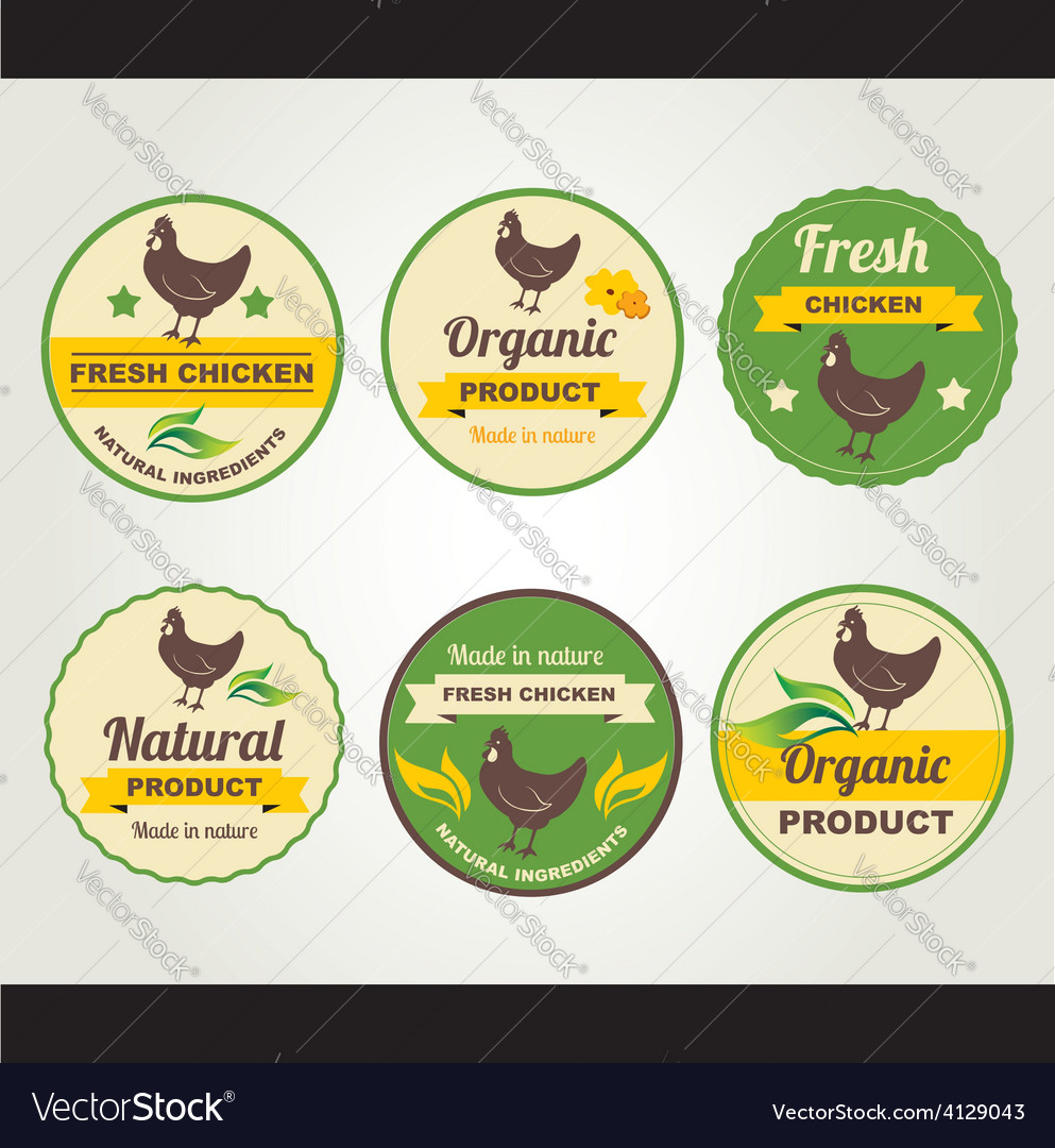 Badges chicken organic product design template vector | Price: 1 Credit (USD $1)