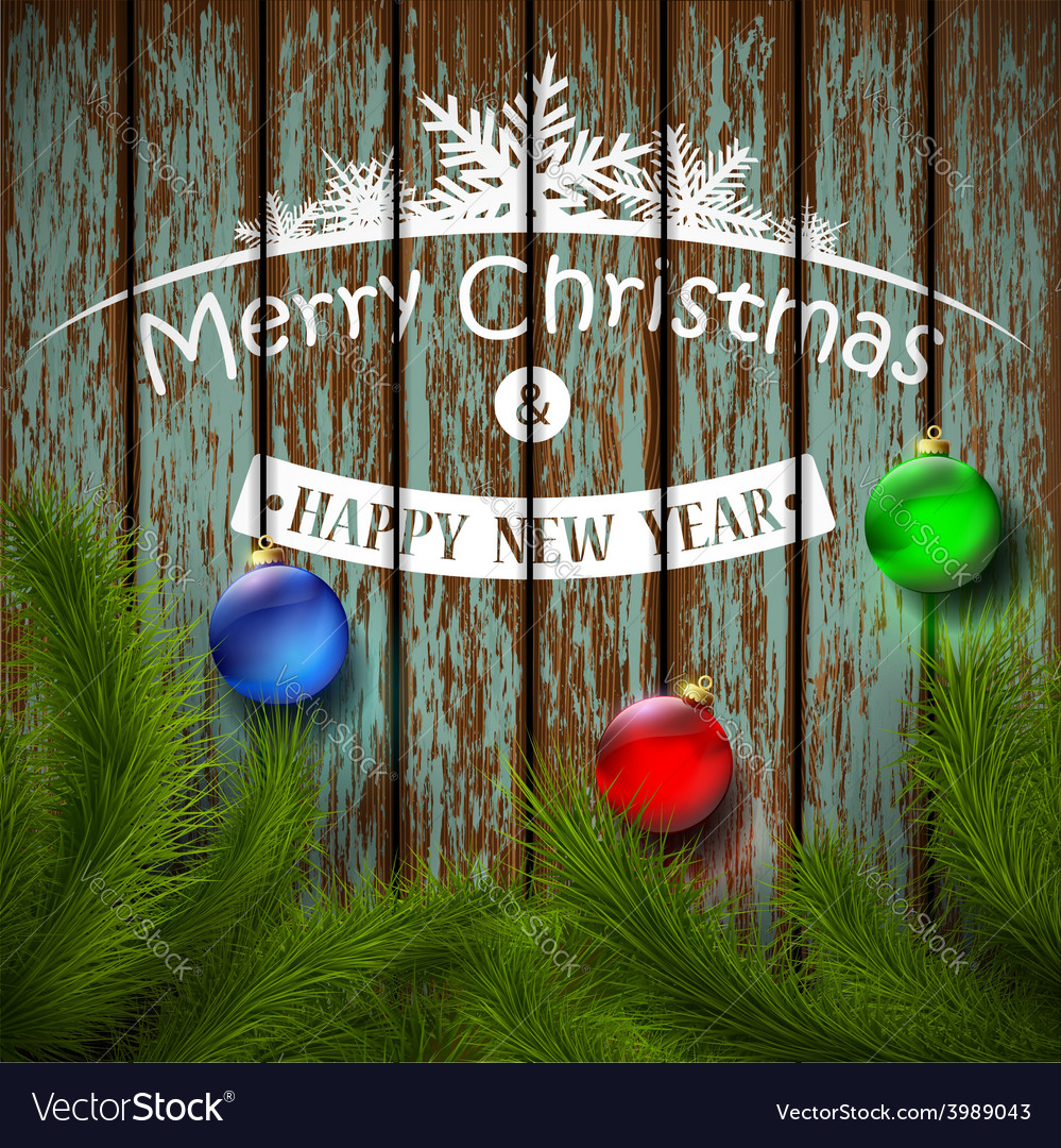 Christmas balls and christmas tree on a wooden vector | Price: 1 Credit (USD $1)