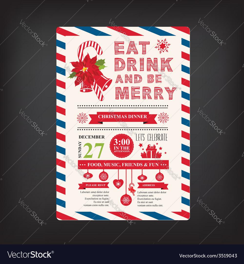 Christmas menu invite vector | Price: 1 Credit (USD $1)