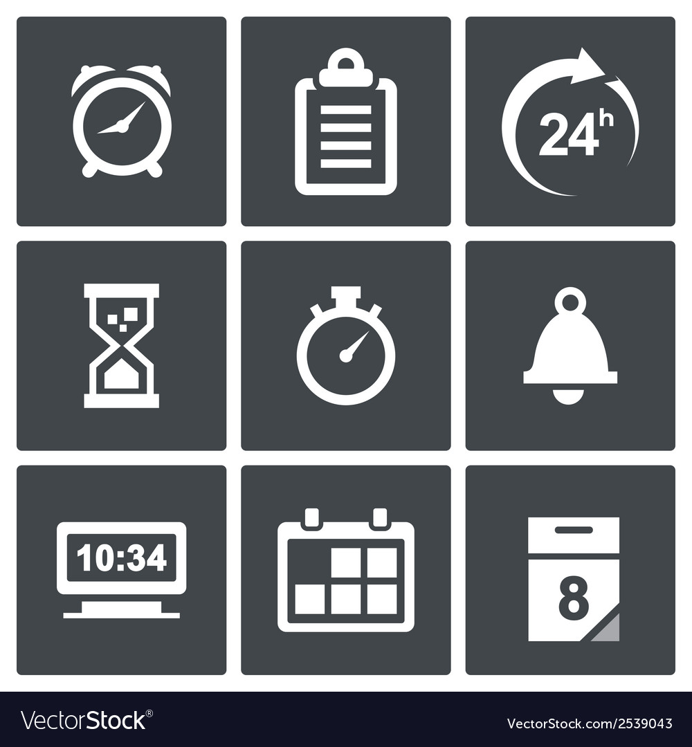 Clock and time icons vector | Price: 1 Credit (USD $1)