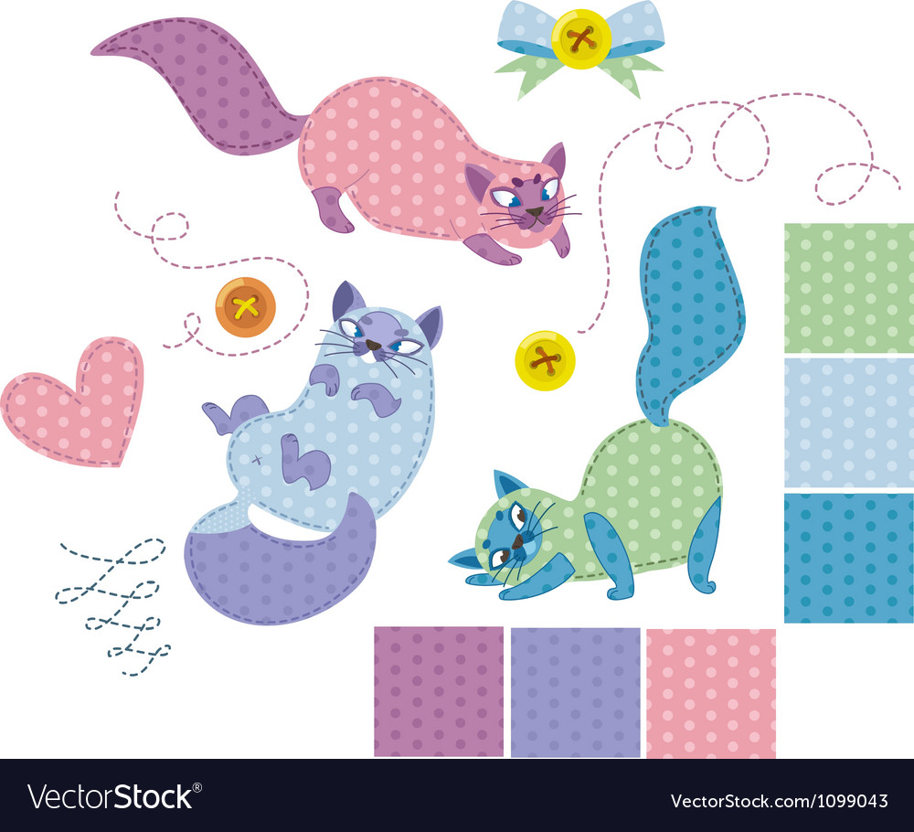 Collection of playful cat isolated on white backgr vector | Price: 1 Credit (USD $1)