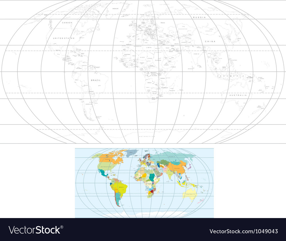 Contour world map vector | Price: 1 Credit (USD $1)