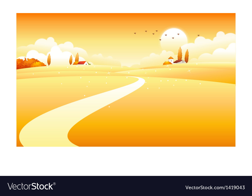 Countryside scene vector | Price: 1 Credit (USD $1)