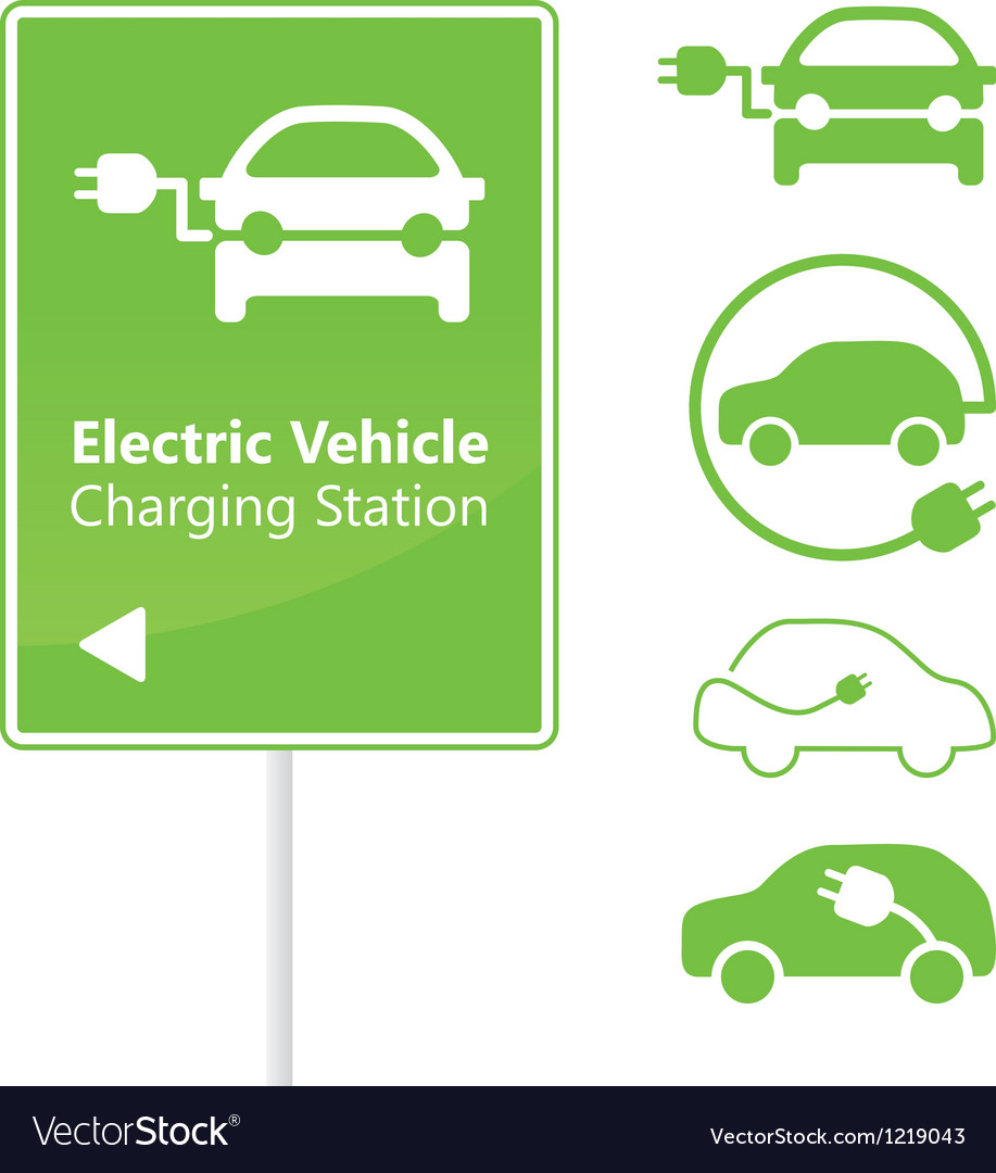 Electric vehicle charging station road sign vector | Price: 1 Credit (USD $1)