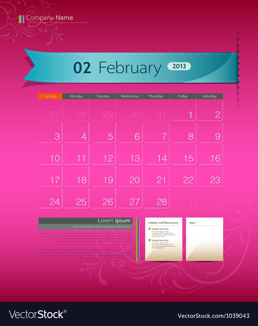 February 2013 calendar vector | Price: 1 Credit (USD $1)