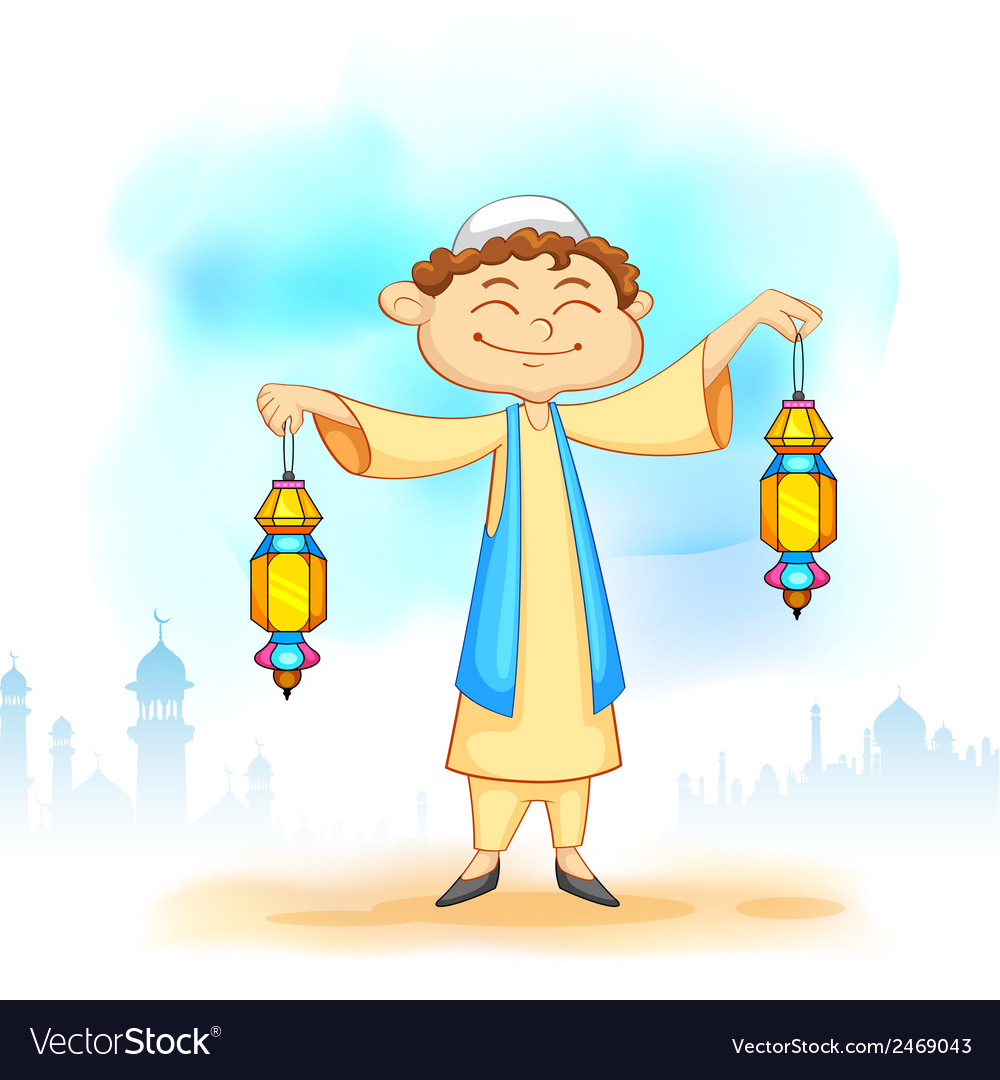 Kid with eid lantern vector | Price: 1 Credit (USD $1)