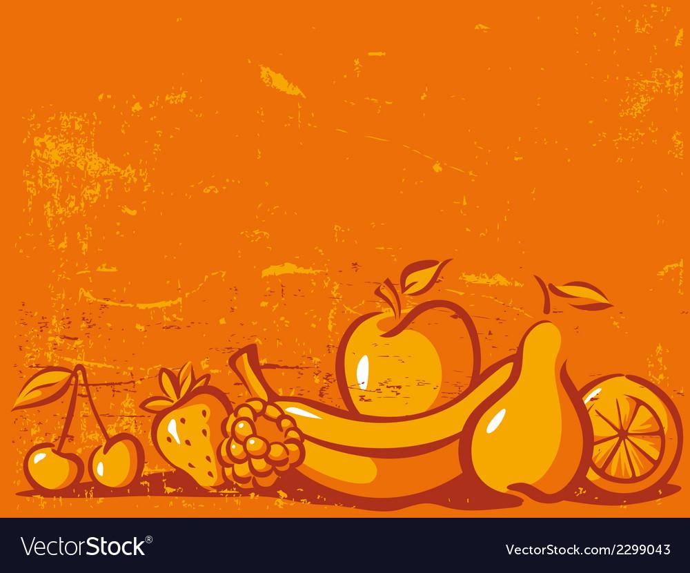 Orange vintage background with fruit vector   Price: 1 Credit (USD $1)