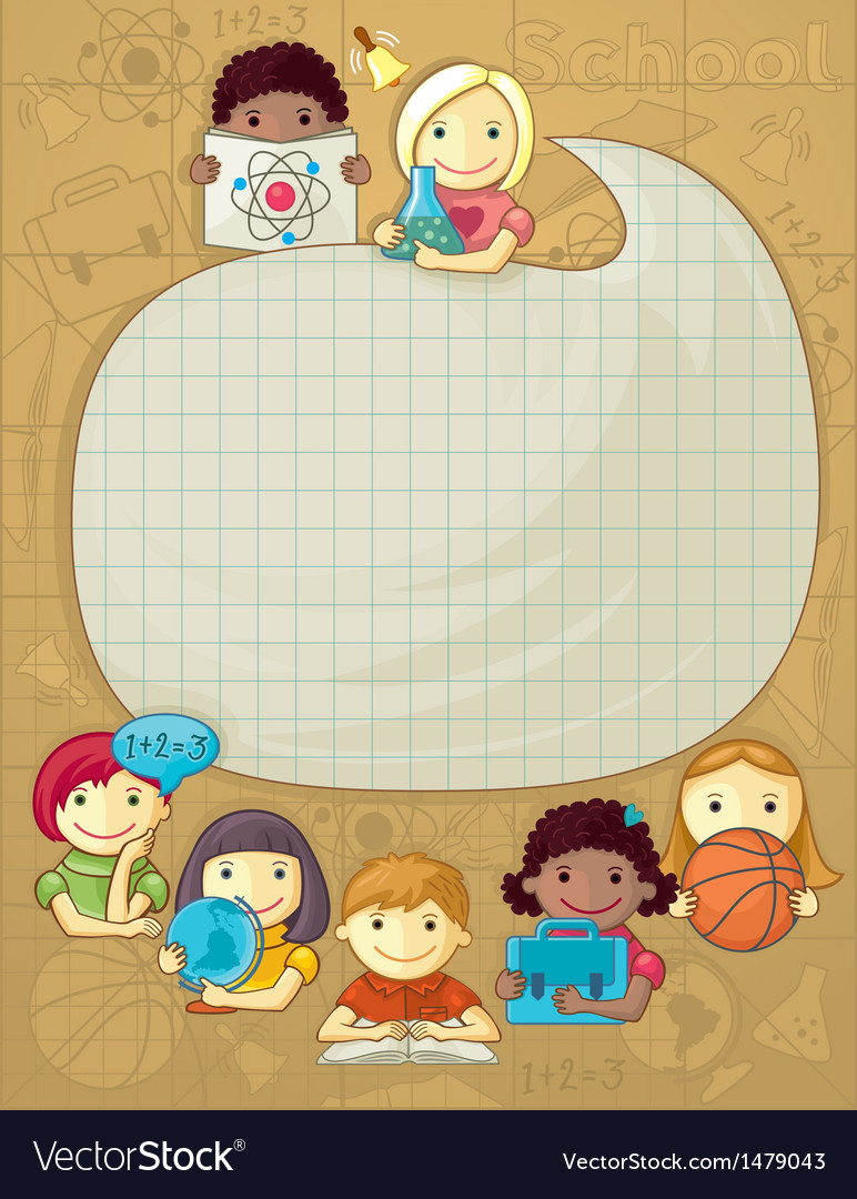 School frame with children vector | Price: 3 Credit (USD $3)