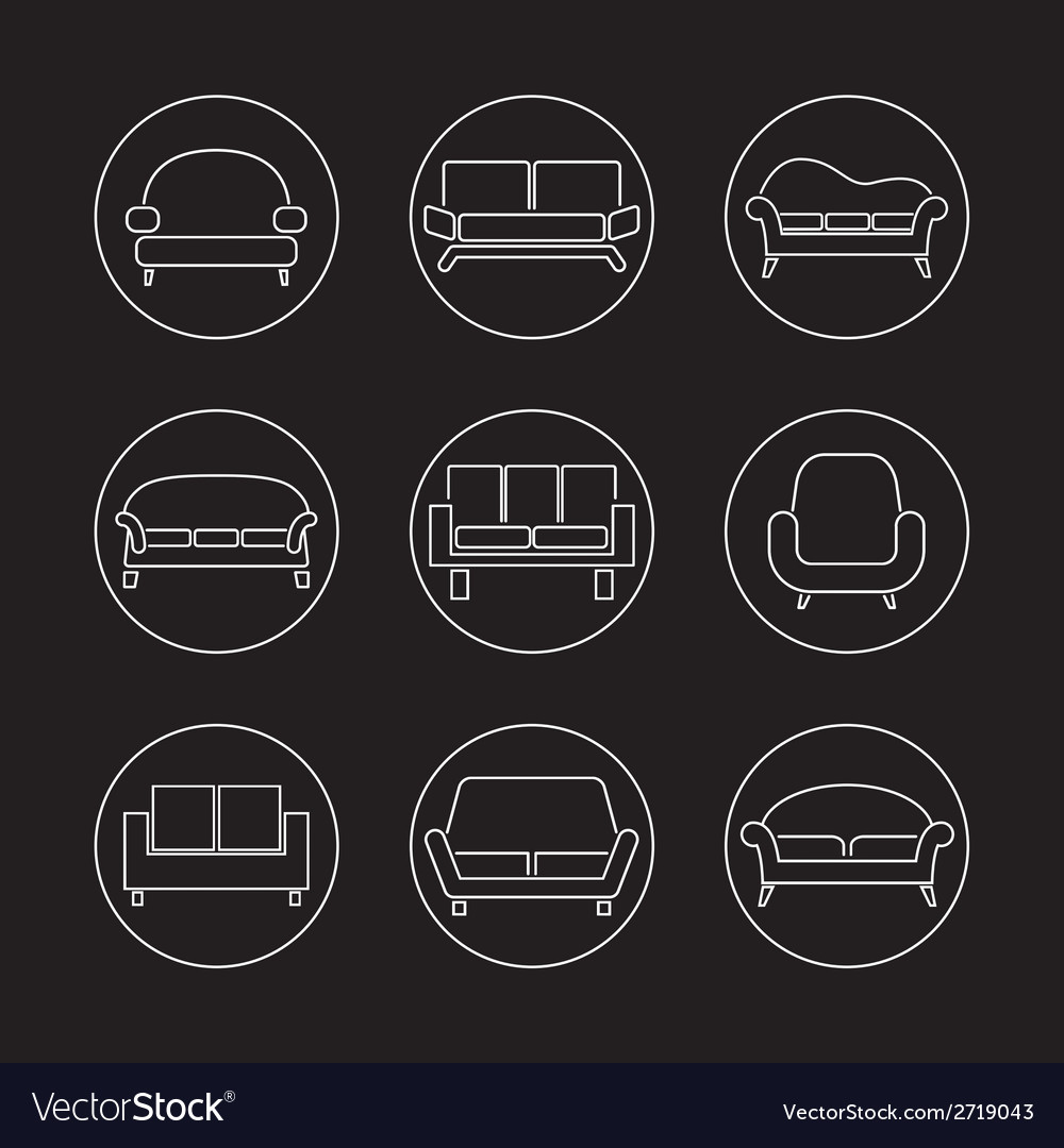 Sofa icons vector   Price: 1 Credit (USD $1)