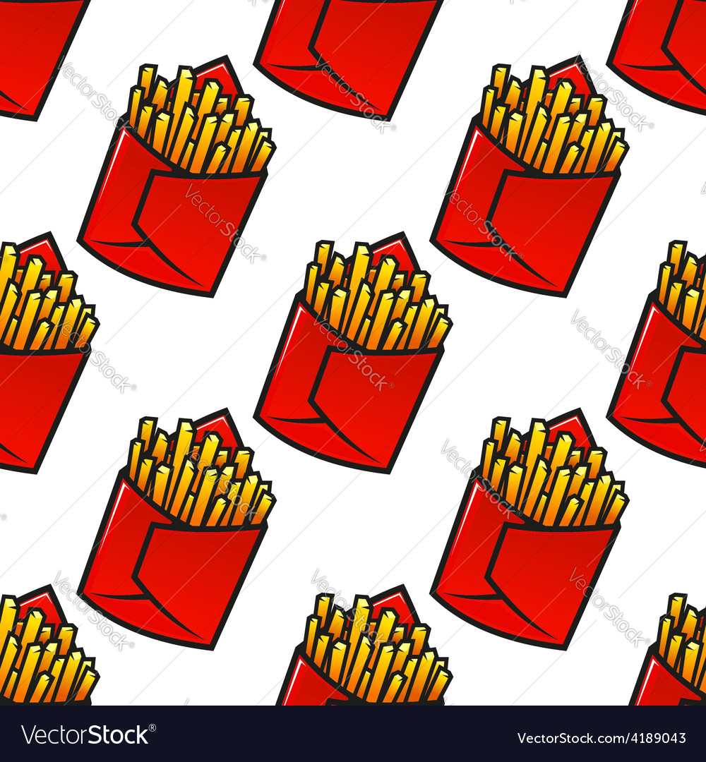 Tasty french fries packs seamless pattern vector   Price: 1 Credit (USD $1)