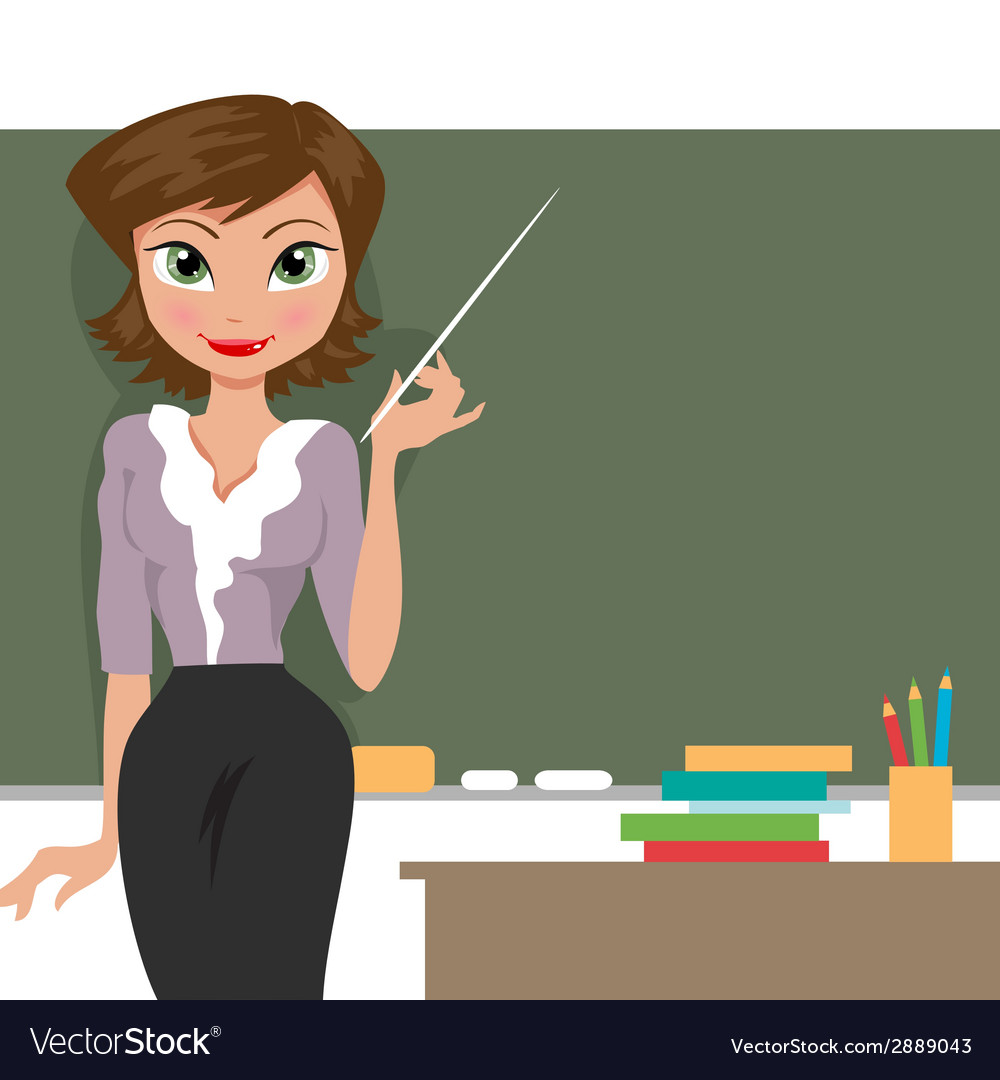 Teacher at the blackboard vector | Price: 1 Credit (USD $1)