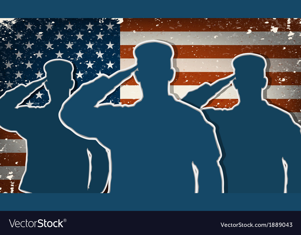 Three us army soldiers saluting on grunge american vector | Price: 1 Credit (USD $1)