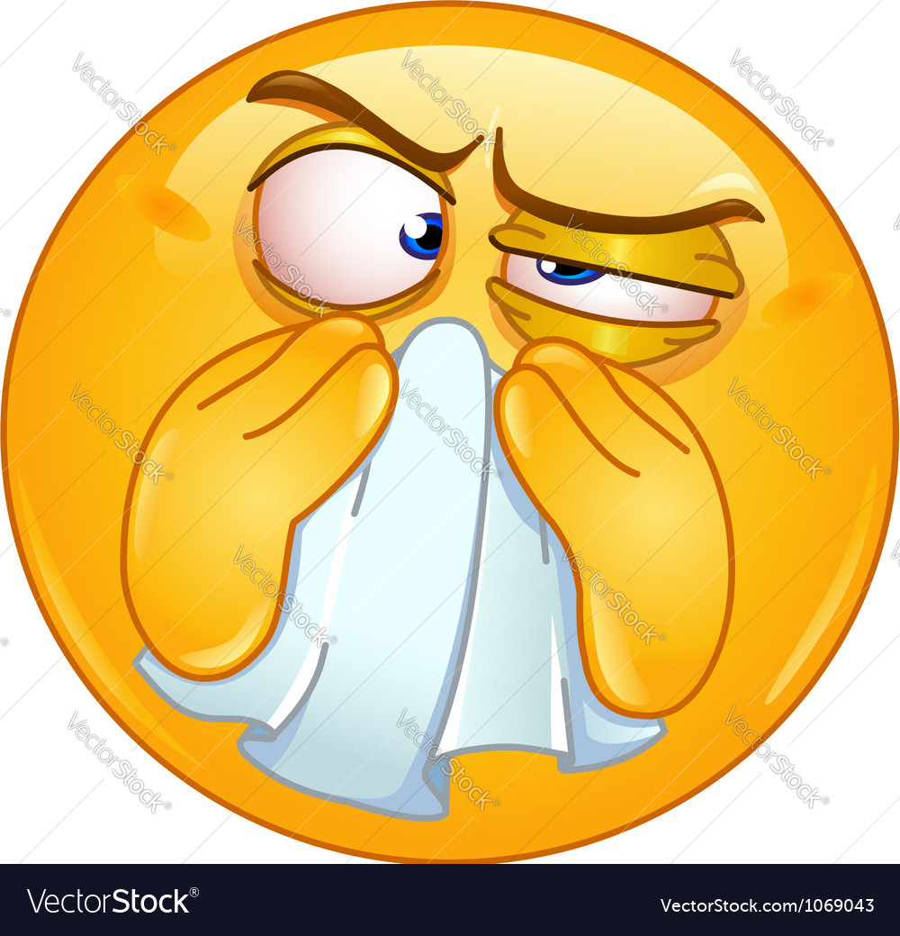 Wiping nose emoticon vector | Price: 1 Credit (USD $1)