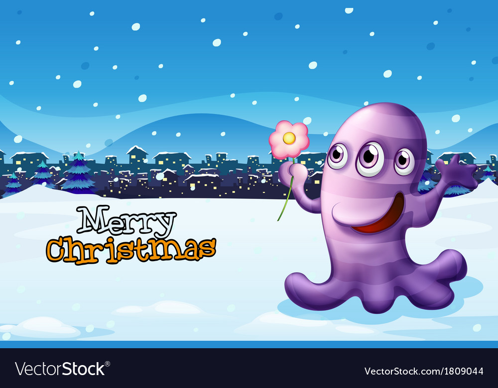 A merry christmas template with a purple monster vector | Price: 1 Credit (USD $1)