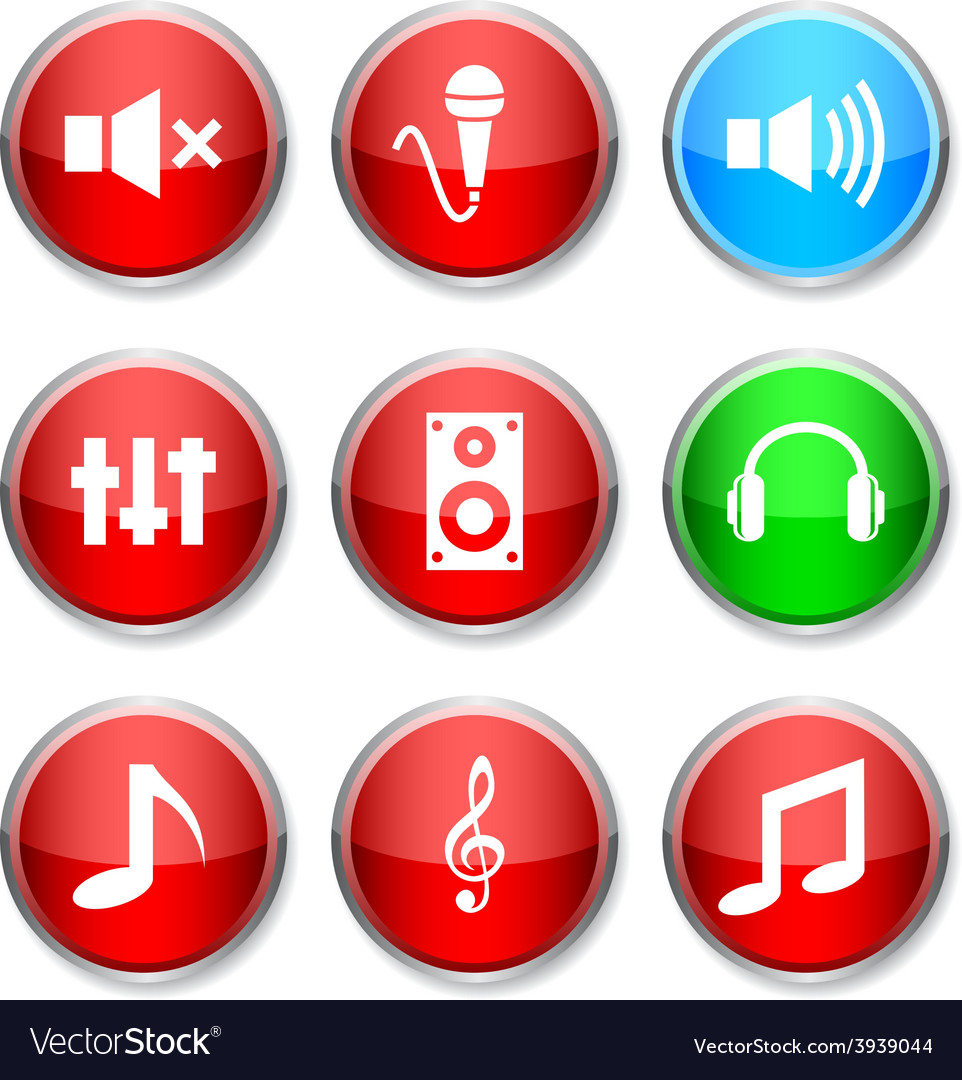 Audio round icons vector | Price: 1 Credit (USD $1)