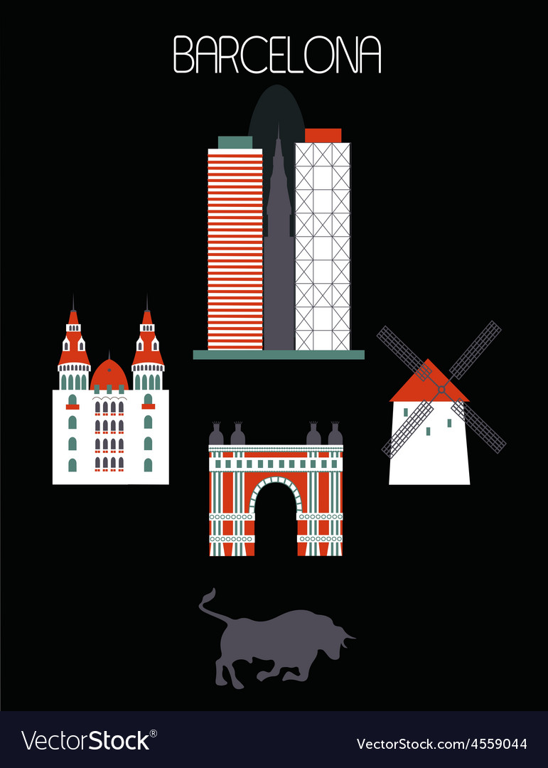 Barcelona city vector | Price: 1 Credit (USD $1)