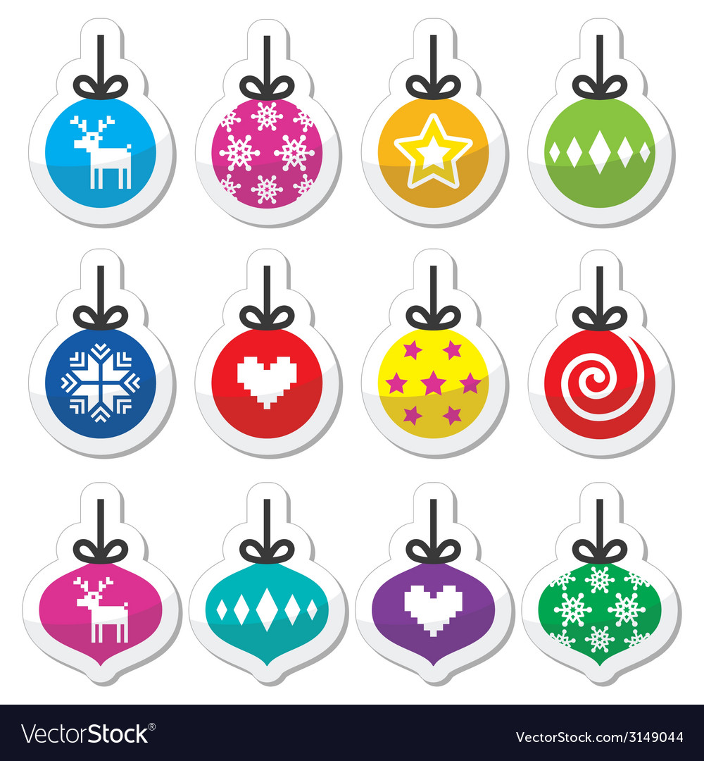 Christmas ball christmas bauble colorful labels s vector | Price: 1 Credit (USD $1)