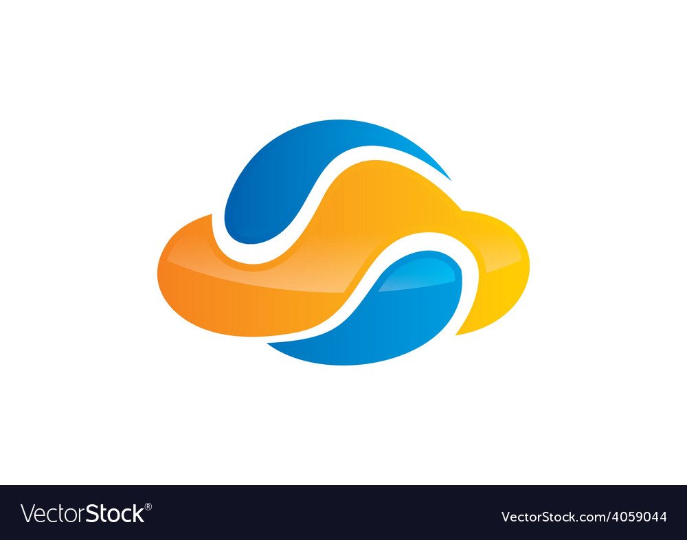 Cloud media abstract color logo vector | Price: 1 Credit (USD $1)