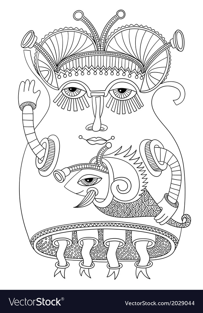 Cute ornate doodle fantasy monster personage vector | Price: 1 Credit (USD $1)