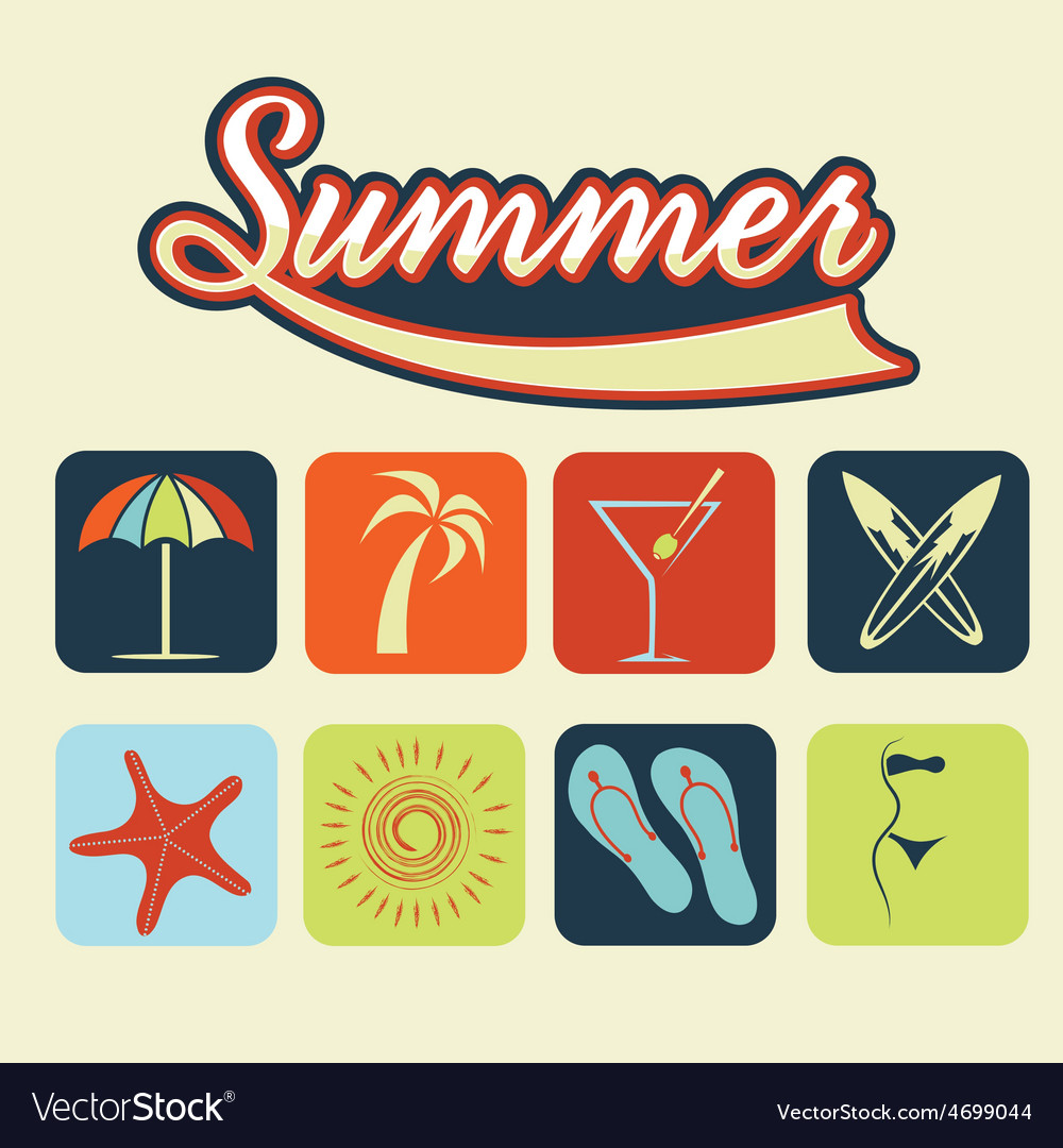 Flat icons of summer vector | Price: 1 Credit (USD $1)